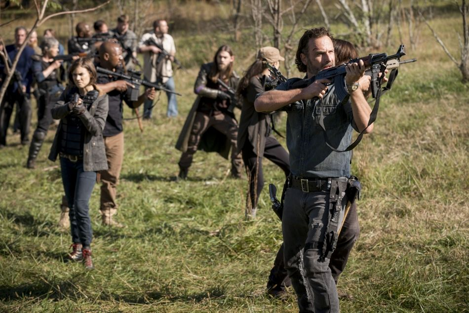 AMC's 'The Walking Dead,' Season 8 finale, Rick's group, purple armbands