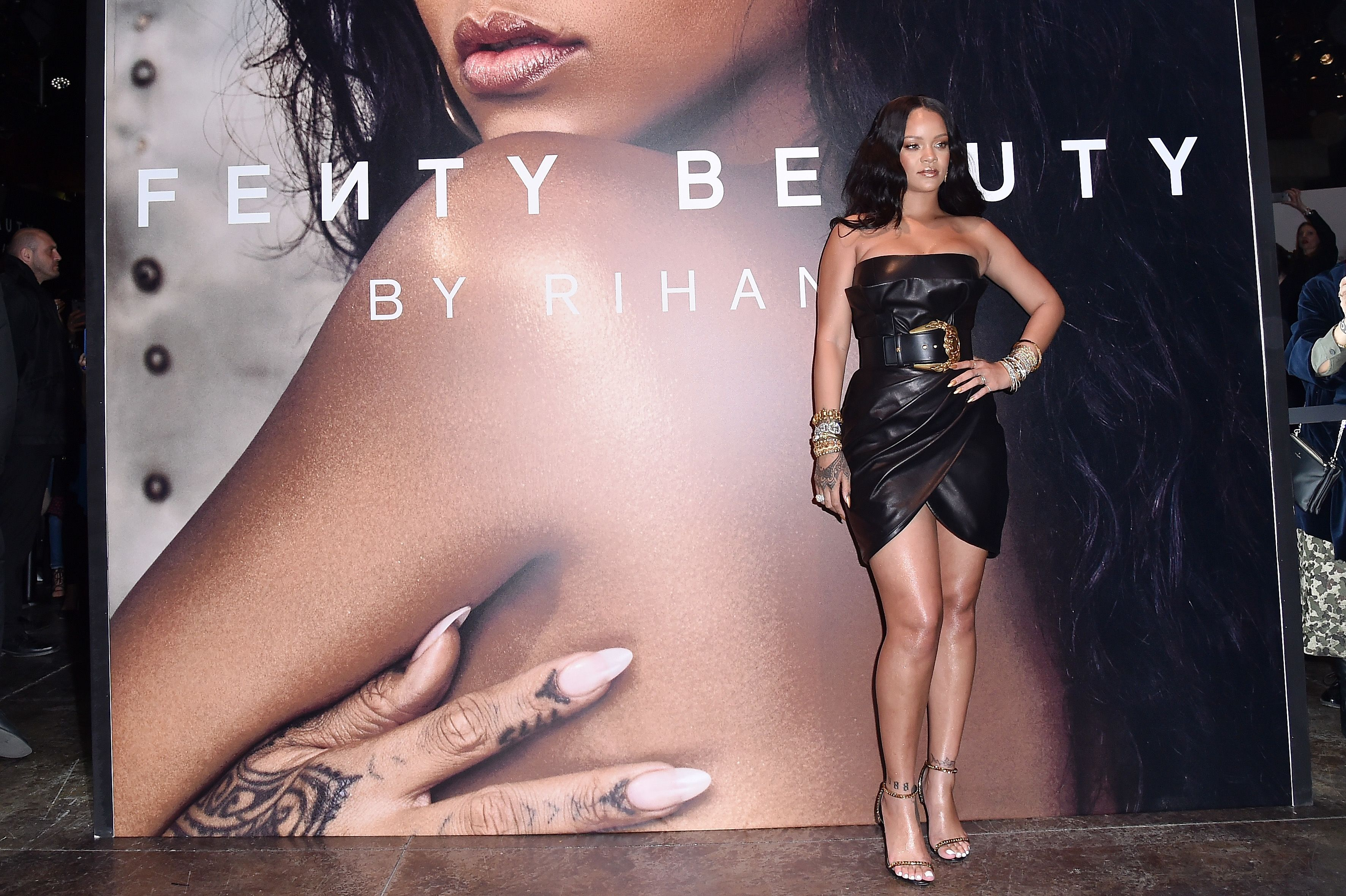 Rihanna Wears Black Mini-Dress