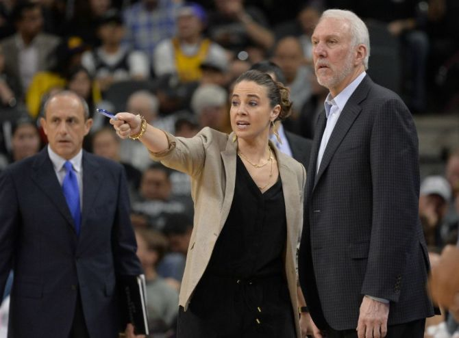 Becky Hammon Helps Out Gregg Popovich