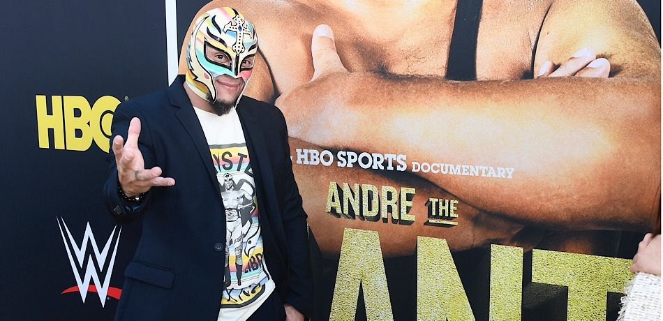 Rey Mysterio attends Andre the Giant premiere.