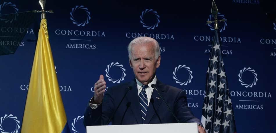 Joe Biden, Former Vice President, United States of America, speaks during main speech as part of the 2018 Concordia Americas Summit day 2 at Agora Bogota Convention Center on July 17, 2018 in Bogota, Colombia.