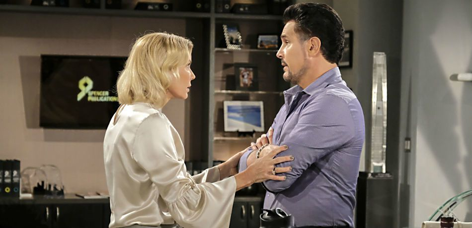 Katherine Kelly Lang and Don Diamont on the set of the Bold and the Beautiful