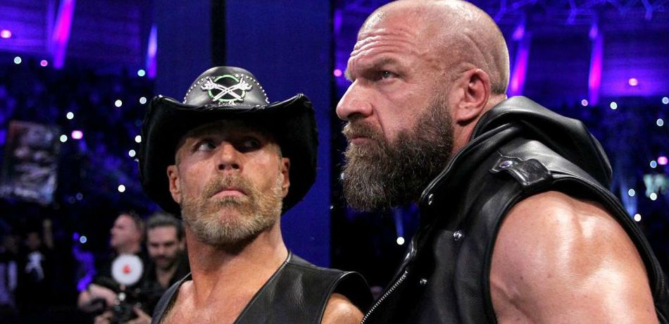 Triple H and Shawn Michaels preparing to enter the ring