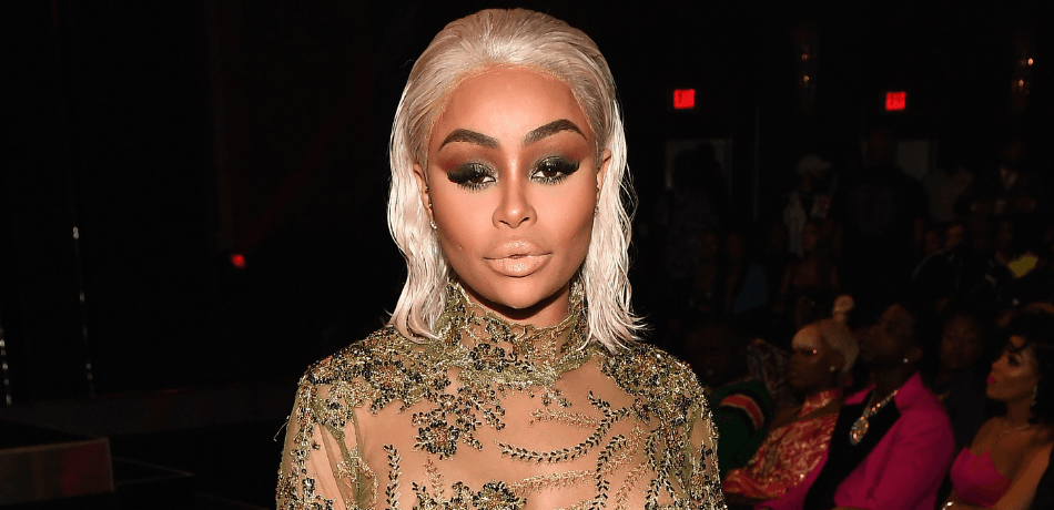 Blac chyna in a sheer evening gown