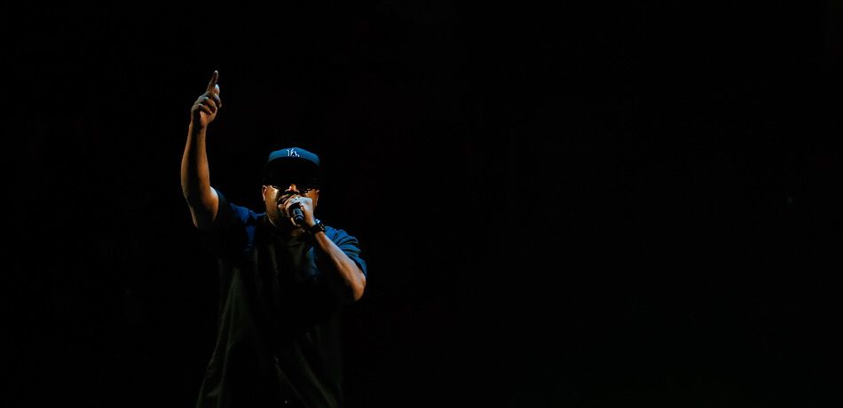 Ice Cube performing live at the BIG3 Championship in Brooklyn, New York.
