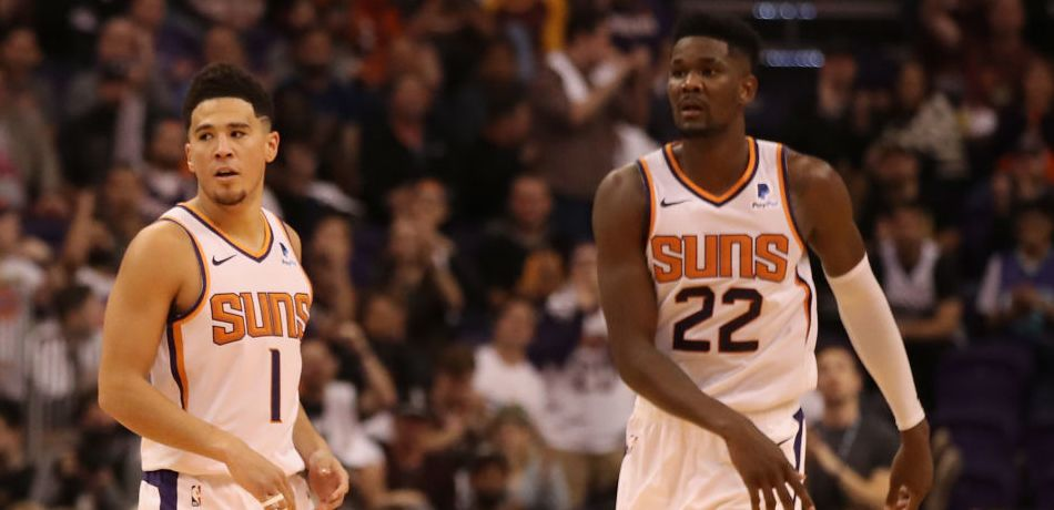 DeAndre Ayton and Devin Booker of the Phoenix Suns
