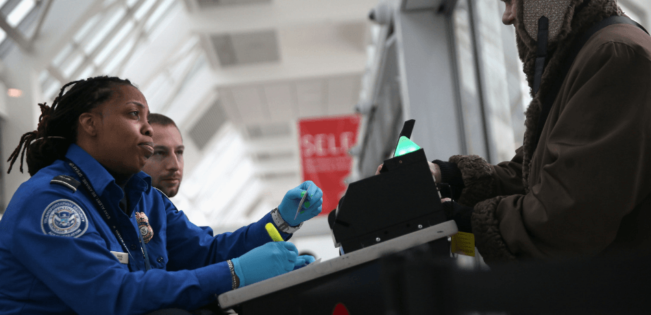 TSA agents working at airport