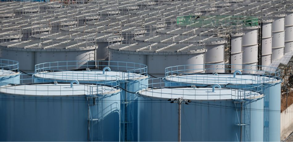 A general view of radiation contaminated water tanks at Fukushima Daiichi nuclear power plant.