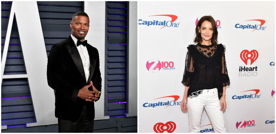 Jamie Foxx attends the 2019 Vanity Fair Oscar Party hosted by Radhika Jones./ Katie Holmes attends Z100's Jingle Ball 2018 at Madison Square Garden.