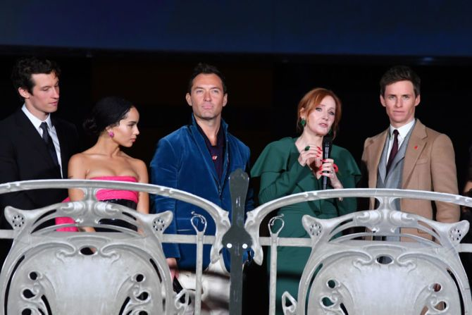 (L-R) Callum Turner, Zoe Kravitz, Jude Law, J.K Rowling and Eddie Redmayne attend 'Fantastic Beasts: The Crimes Of Grindelwald' World Premiere at UGC Cine Cite Bercy on November 8, 2018 in Paris, France.