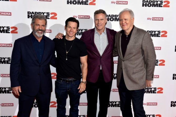 (L-R) Mel Gibson, Mark Wahlberg, Will Ferrell and John Lithgow attend the UK Premiere of 'Daddy's Home 2' at Vue West End on November 16, 2017 in London, England.