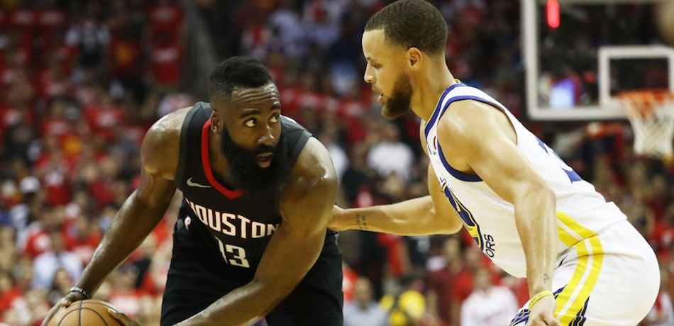 James Harden of the Houston Rockets drives against Golden State Warriors guard Stephen Curry during the 2018 Western Conference Finals.