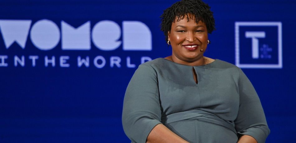 Stacey Abrams speaks onstage at the 10th Anniversary Women In The World Summit.