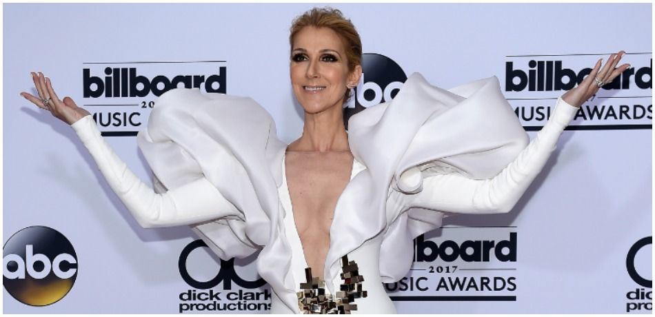 Celine Dion poses in the press room during the 2017 Billboard Music Awards.
