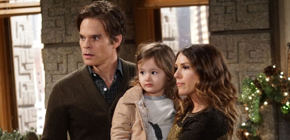 Greg Rikaart (Kevin Fisher), Gia Poeme (Bella Mitchell) and Elizabeth Hendrickson (Chloe Mitchell) on 'The Young and the Restless.'