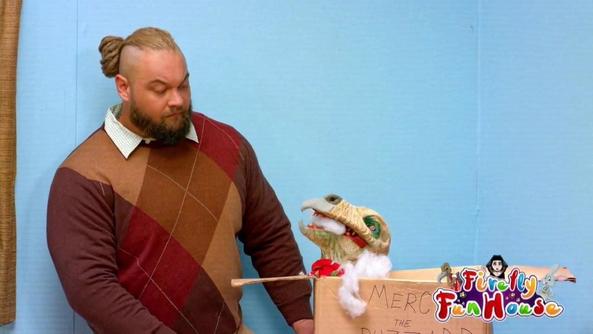 Bray Wyatt speaks with his new friends in the Firefly Fun House.
