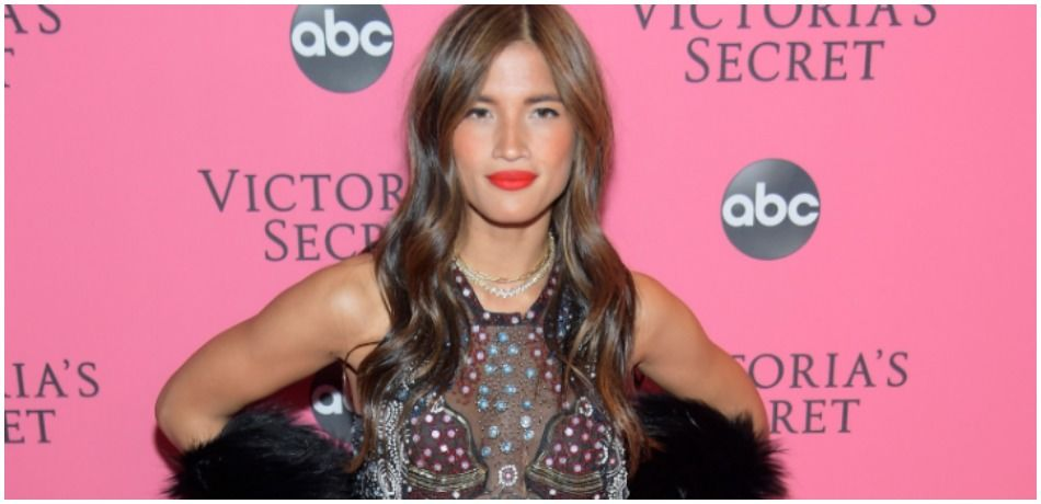 Rocky Barnes wears a see-through black top at Victoria's Secret red carpet event