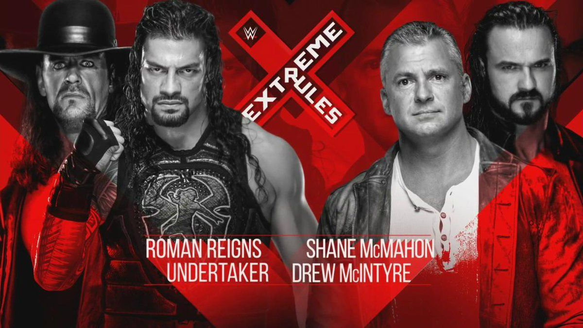 "The Undertaker and Roman Reigns will face Shane McMahon and Drew McIntyre at ""Extreme Rules."""