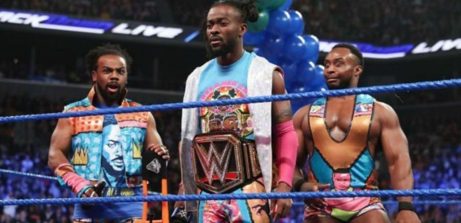 "The New Day stand confused in the ring on ""SmackDown Live."""