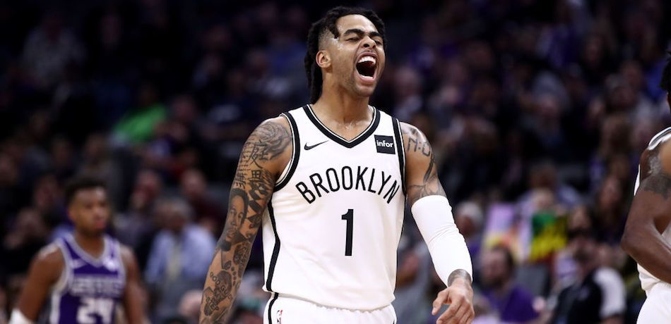 D'Angelo Russell of the Brooklyn Nets celebrates during a game against the Sacramento Kings.