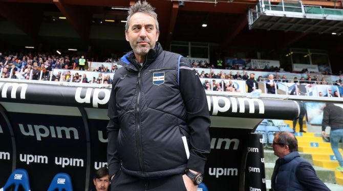 Marco Giampaolo watches the match.