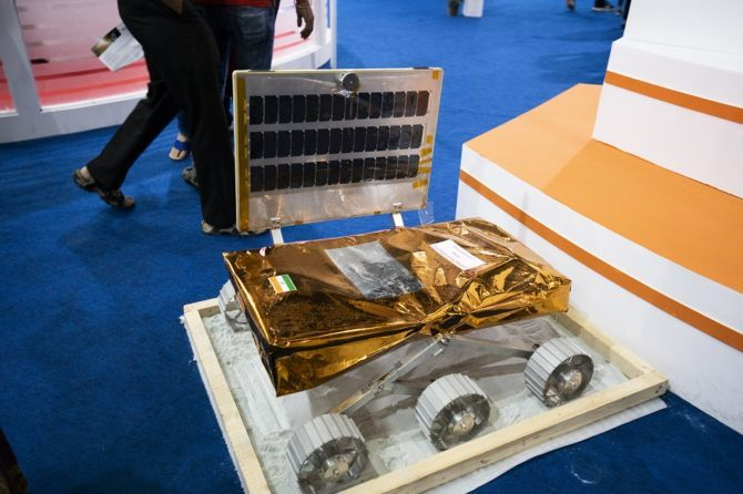 Engineering model of the Chandrayaan-2 rover, displayed at 6th Bangalore Space Expo 2018.
