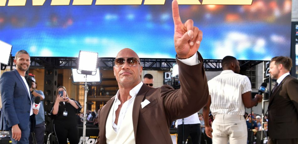 "Dwayne Johnson arrives at the premiere of Universal Pictures' ""Fast & Furious Presents: Hobbs & Shaw"" at Dolby Theatre on July 13, 2019 in Hollywood, California"