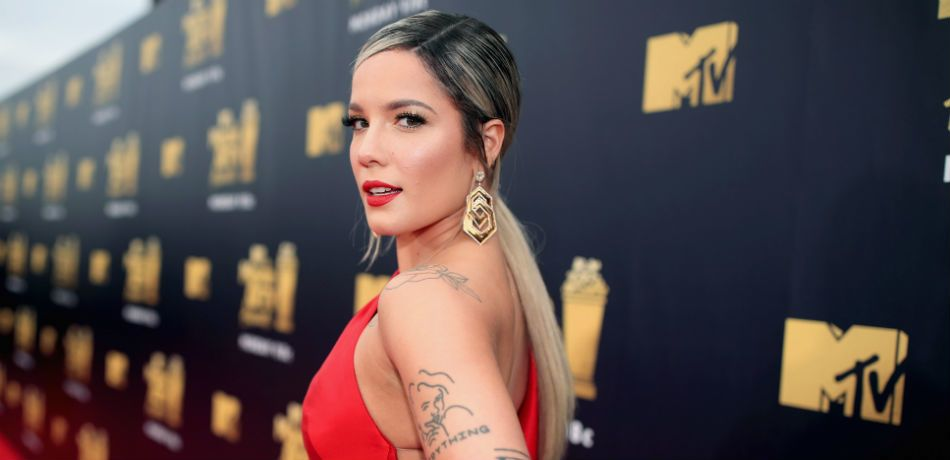 Halsey Showcases Body In Barely-There, Silky Red Bikini