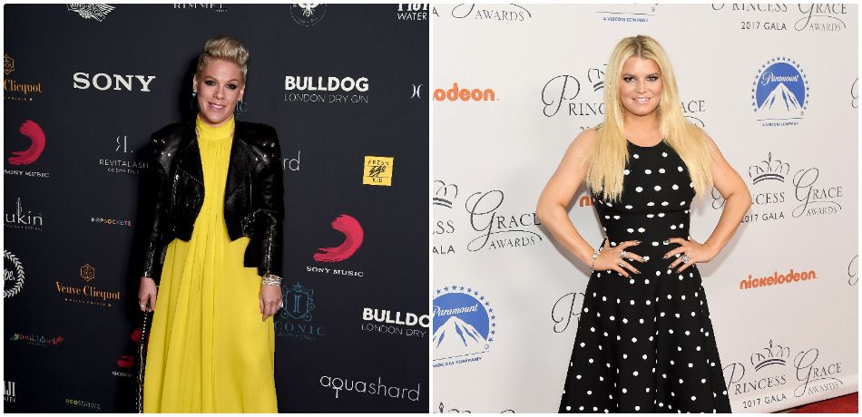 Pink poses in a yellow dress as she attends the Sony Music BRIT awards after party at aqua shard on February 20, 2019./ Jessica Simpson poses in a polka dot dress as she attends the 2017 Princess Grace Awards Gala Kick Off Event with a special tribute to Stephen Hillenberg at Paramount Studios on October 24, 2017.