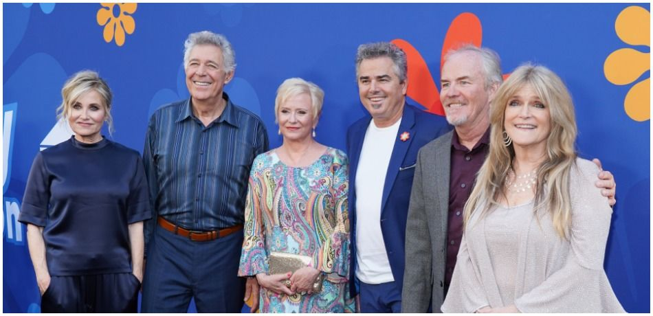 "(L-R) Maureen McCormick, Barry Williams, Eve Plumb, Christopher Knight, Mike Lookinland and Susan Olsen attend the premiere of HGTV's ""A Very Brady Renovation"" at The Garland Hotel on September 05, 2019 in North Hollywood, California."