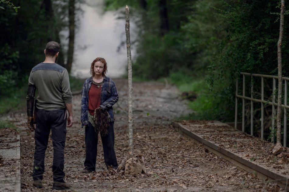 Ross Marquand as Aaron and Thora Birch as Gamma, as seen in Episode 8 of AMC's 'The Walking Dead' Season 10