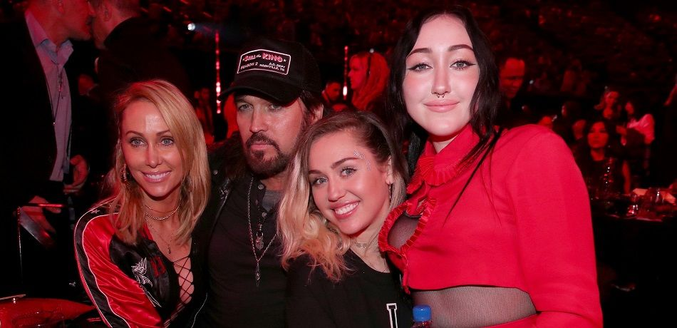 Tish Cyrus, and singers-songwriters Billy Ray Cyrus, Miley Cyrus, and Noah Cyrus attend the 2017 iHeartRadio Music Awards
