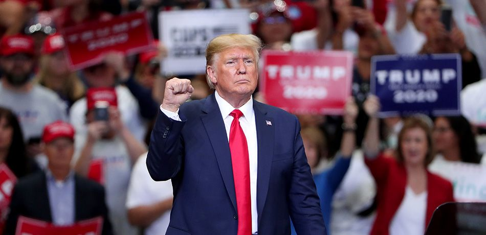 "U.S. President Donald Trump speaks during a ""Keep America Great"" Campaign Rally at American Airlines Center on October 17, 2019 in Dallas, Texas."