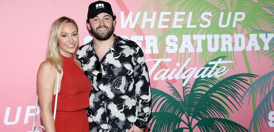 Baker Mayfield poses with his wife