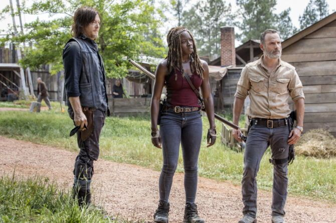 Norman Reedus as Daryl Dixon, Andrew Lincoln as Rick Grimes, Danai Gurira as Michonne, as seen in Episode 1 of AMC's 'The Walking Dead' Season 9