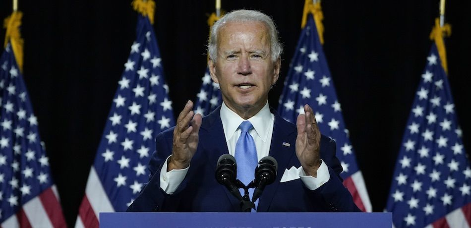 Democratic presidential candidate former Vice President Joe Biden speaks during an event.