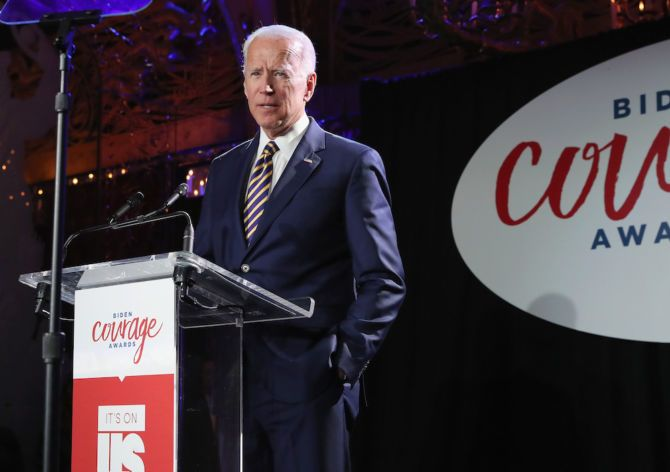 Former Vice President Joe Biden speaks onstage during The 2019 Biden Courage Awards at Russian Tea Room in New York City.
